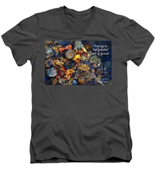 Men's V-Neck T-Shirt featuring the drawing Autumn Splash Grace by Diane E Berry