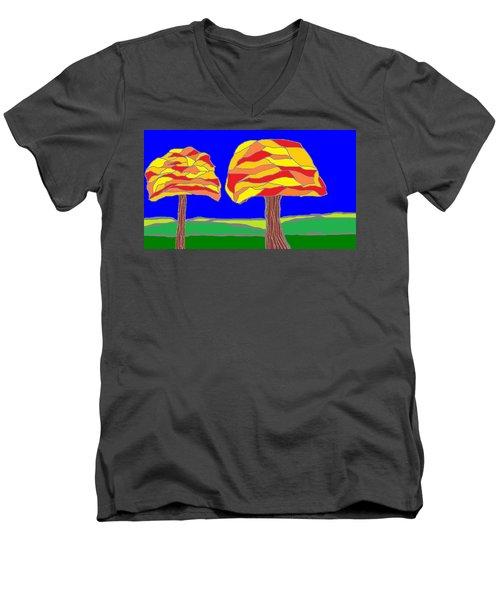 Autumn Stained Glass 1 Men's V-Neck T-Shirt