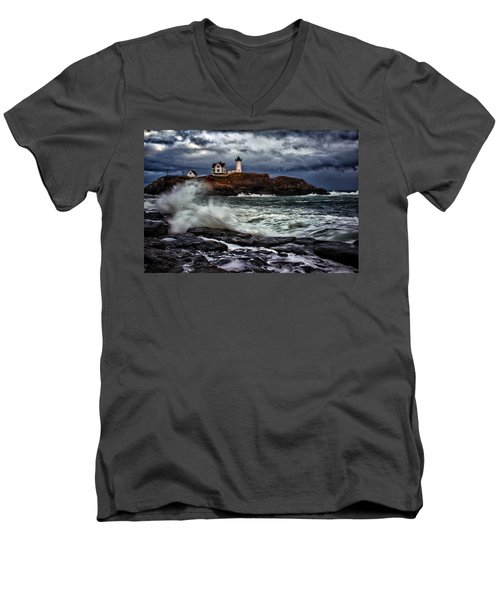 Autumn Storm At Cape Neddick Men's V-Neck T-Shirt