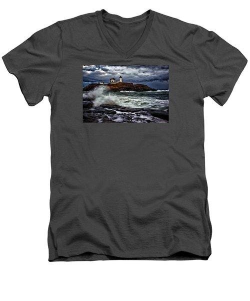 Autumn Storm At Cape Neddick Men's V-Neck T-Shirt by Rick Berk