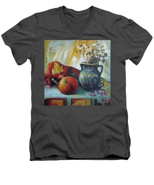 Men's V-Neck T-Shirt featuring the painting Autumn Story by Elena Oleniuc