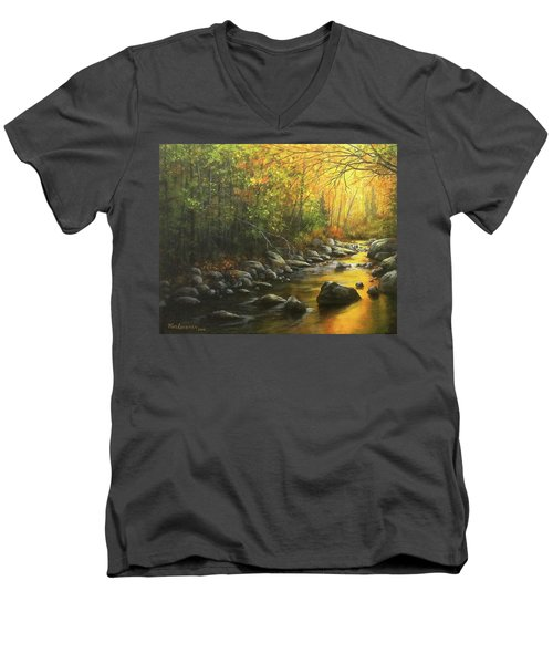 Men's V-Neck T-Shirt featuring the painting Autumn Stream by Kim Lockman