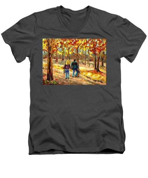 Autumn  Stroll On Mount Royal Men's V-Neck T-Shirt