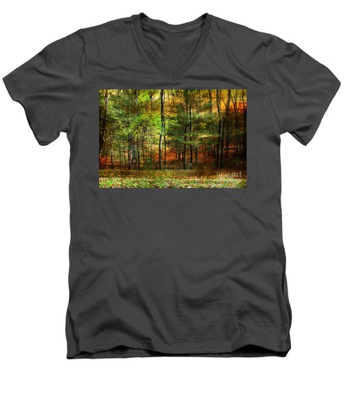 Autumn Sunset - In The Woods Men's V-Neck T-Shirt by Judy Palkimas