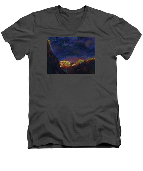 Autumn Sunset Over Half Dome 2013 A Men's V-Neck T-Shirt by Walter Fahmy