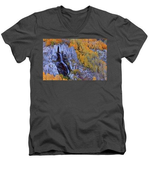 Autumn Surrounds Mist Falls In The Eastern Sierras Men's V-Neck T-Shirt