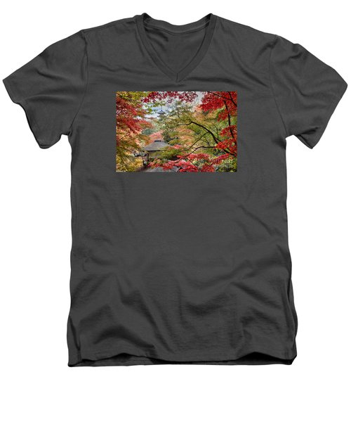 Autumn  Men's V-Neck T-Shirt by Tad Kanazaki