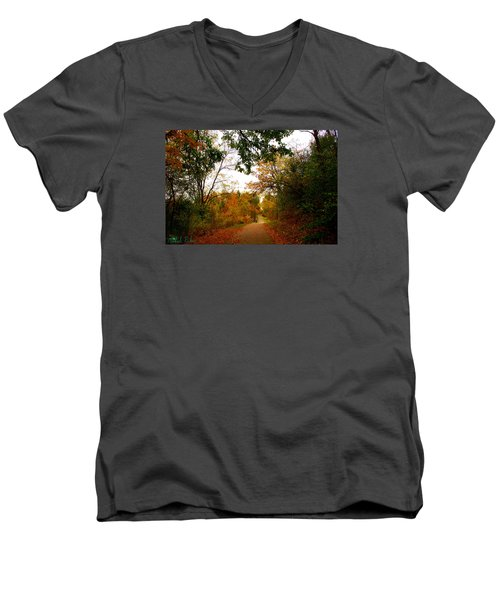 Men's V-Neck T-Shirt featuring the photograph Autumn Trail by Michael Rucker