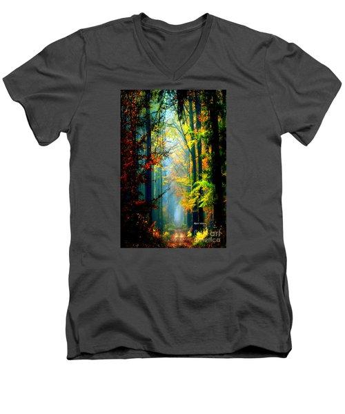 Autumn Trails In Georgia Men's V-Neck T-Shirt