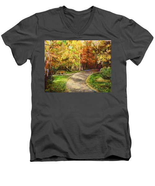 Autumn Walk Men's V-Neck T-Shirt by Bernadette Krupa