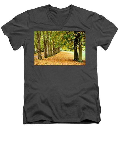Men's V-Neck T-Shirt featuring the photograph Autumn Walk by Colin Rayner