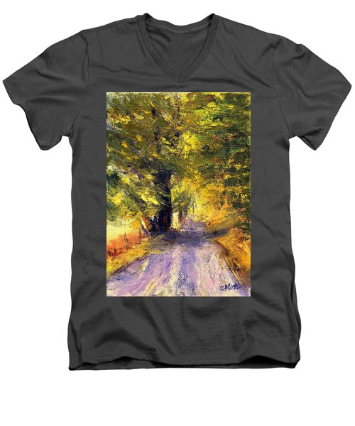 Men's V-Neck T-Shirt featuring the painting Autumn Walk by Gail Kirtz