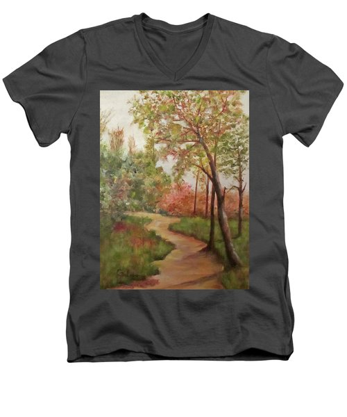 Men's V-Neck T-Shirt featuring the painting Autumn Walk by Roseann Gilmore