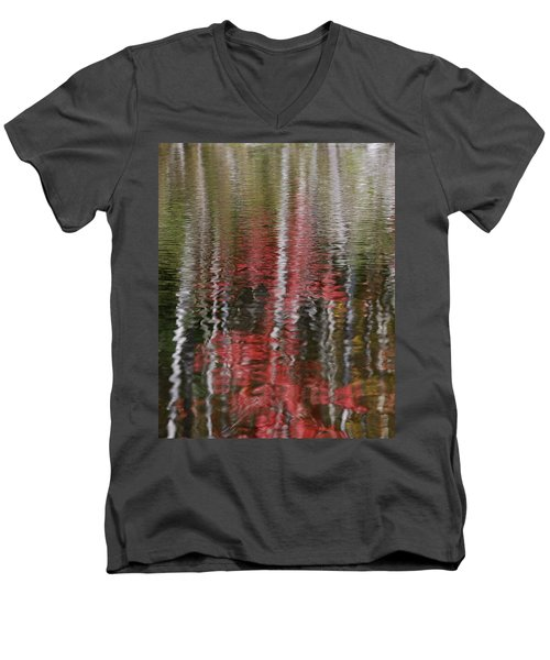 Men's V-Neck T-Shirt featuring the photograph Autumn Water Color by Susan Capuano