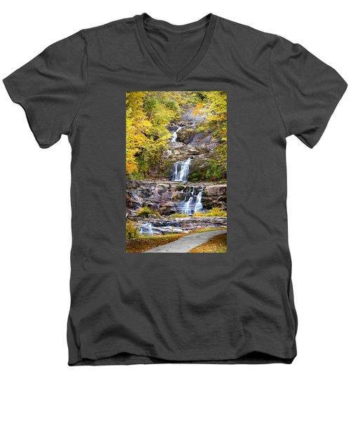 Autumn Waterfall Men's V-Neck T-Shirt by Brian Caldwell