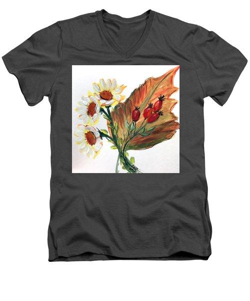 Autumn Wild Flowers Bouquet Men's V-Neck T-Shirt
