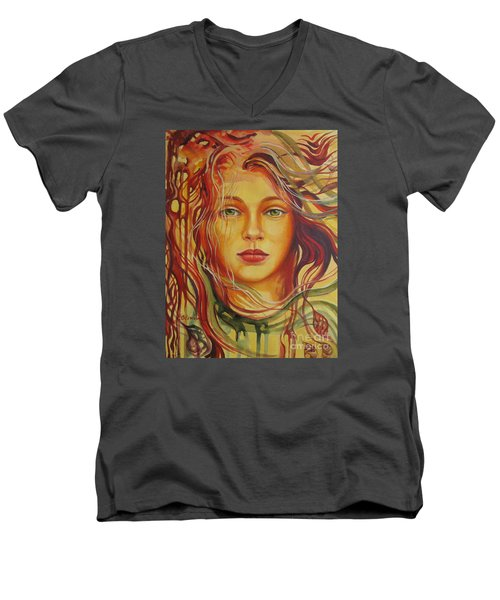 Men's V-Neck T-Shirt featuring the painting Autumn Wind 2 by Elena Oleniuc