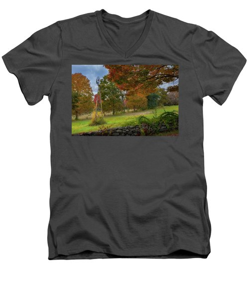 Men's V-Neck T-Shirt featuring the photograph Autumn Windmill by Bill Wakeley