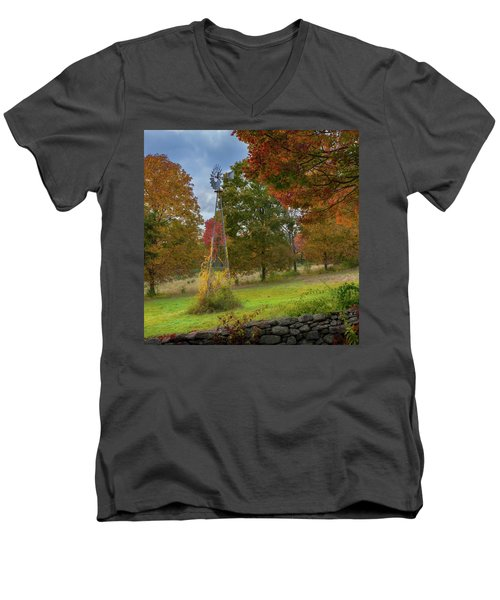 Men's V-Neck T-Shirt featuring the photograph Autumn Windmill Square by Bill Wakeley