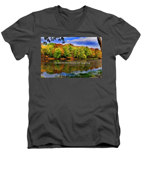 Men's V-Neck T-Shirt featuring the photograph Autumn Wonders Giving by Diane E Berry