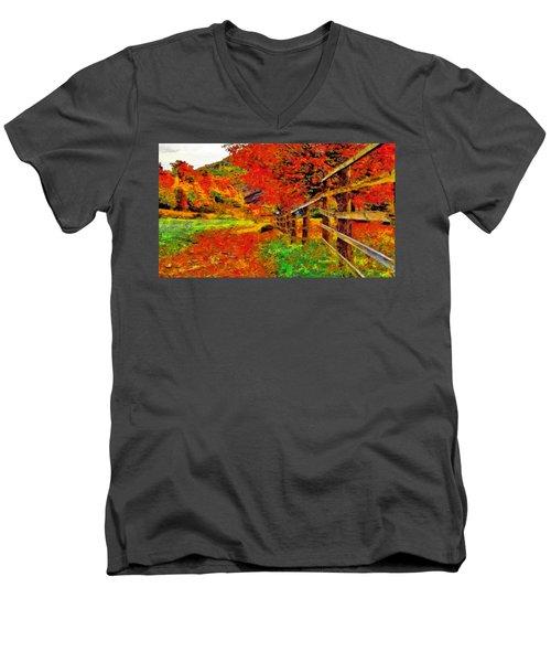 Autumnal Blaze Of Glory Men's V-Neck T-Shirt
