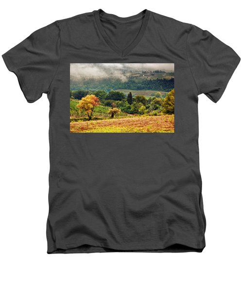 Autumnal Hills Men's V-Neck T-Shirt by Silvia Ganora