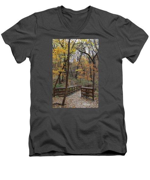 Autumnal Leaves Men's V-Neck T-Shirt by Yumi Johnson
