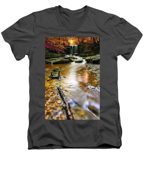 Autumnal Waterfall Men's V-Neck T-Shirt