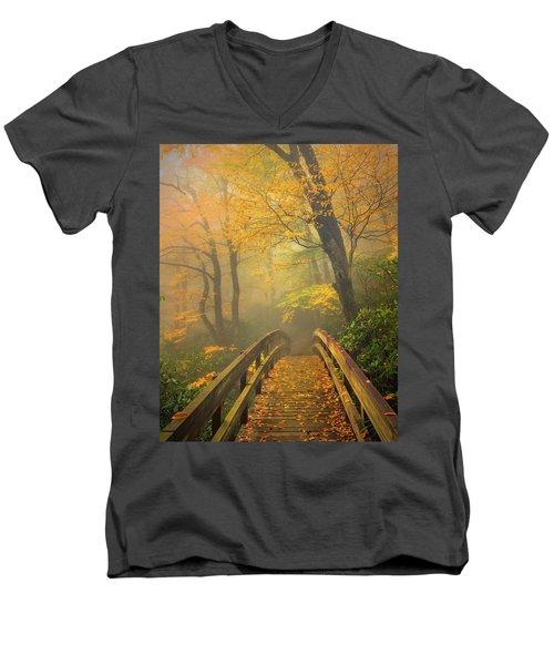 Autumn's Bridge To Heaven Men's V-Neck T-Shirt