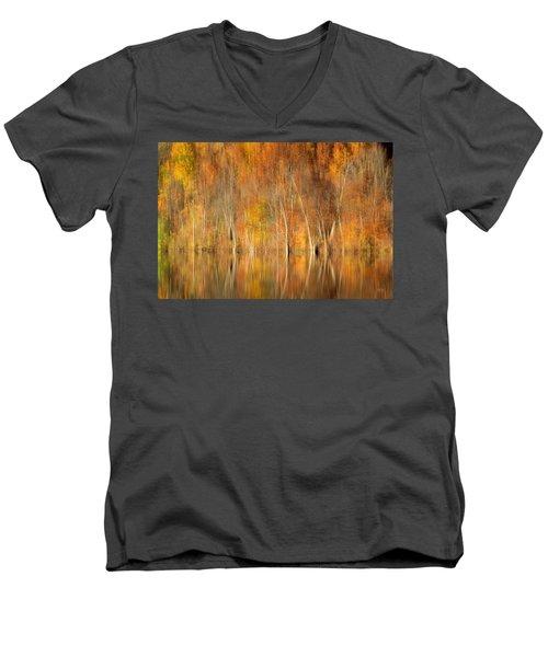 Men's V-Neck T-Shirt featuring the photograph Autumns Final Palette by Everet Regal