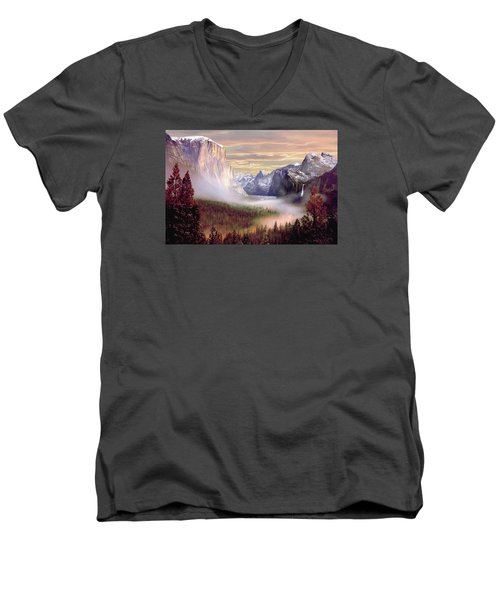 Autumns First Snowfall Men's V-Neck T-Shirt by Ron Chambers