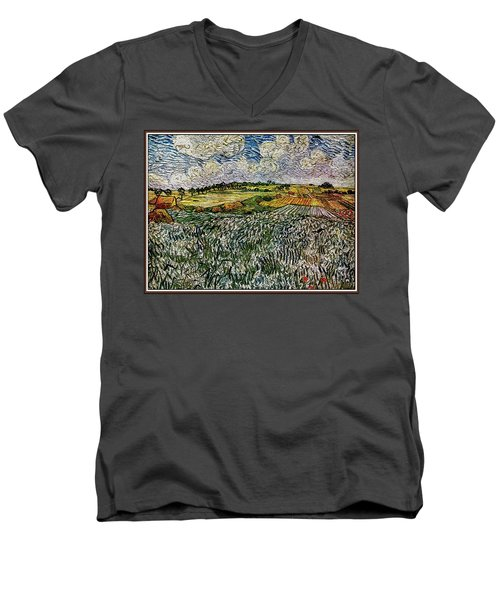 Men's V-Neck T-Shirt featuring the painting Landscape Auvers28 by Pemaro