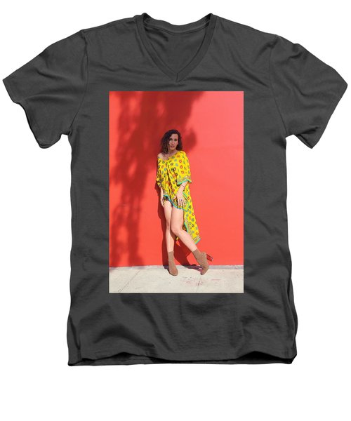 Ava Milva Standing Men's V-Neck T-Shirt by Viktor Savchenko
