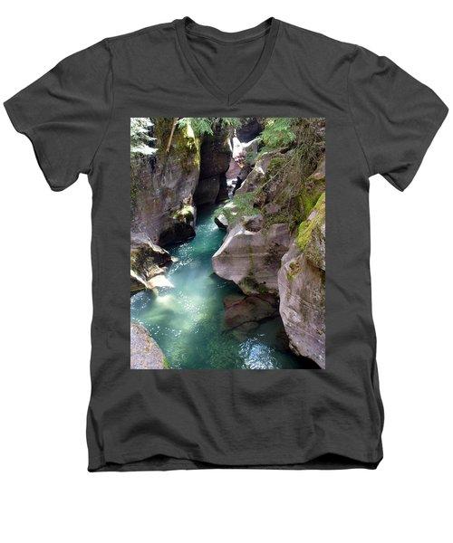 Avalanche Creek Glacier National Park Men's V-Neck T-Shirt