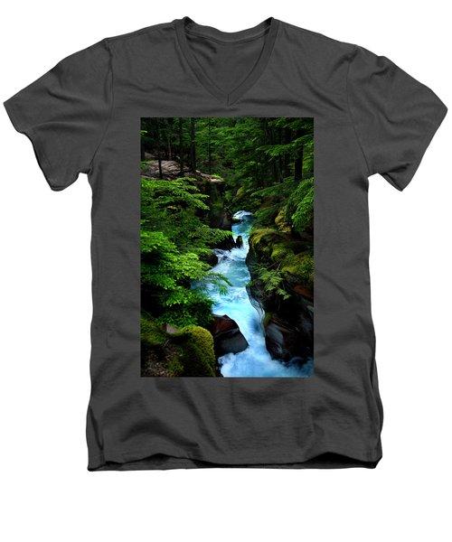 Avalanche Creek Waterfalls Men's V-Neck T-Shirt
