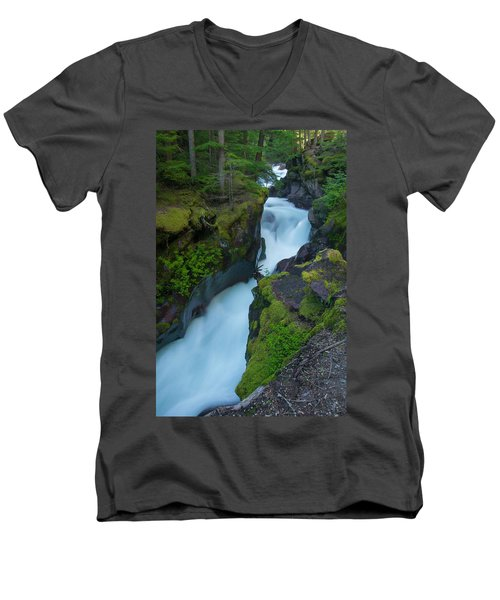 Men's V-Neck T-Shirt featuring the photograph Avalanche Gorge 6 by Gary Lengyel