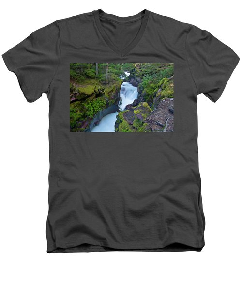 Men's V-Neck T-Shirt featuring the photograph Avalanche Gorge 7 by Gary Lengyel