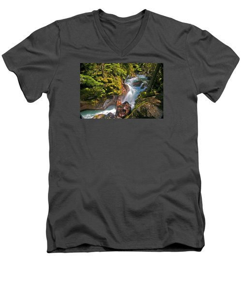 Men's V-Neck T-Shirt featuring the photograph Avalanche Gorge by Gary Lengyel