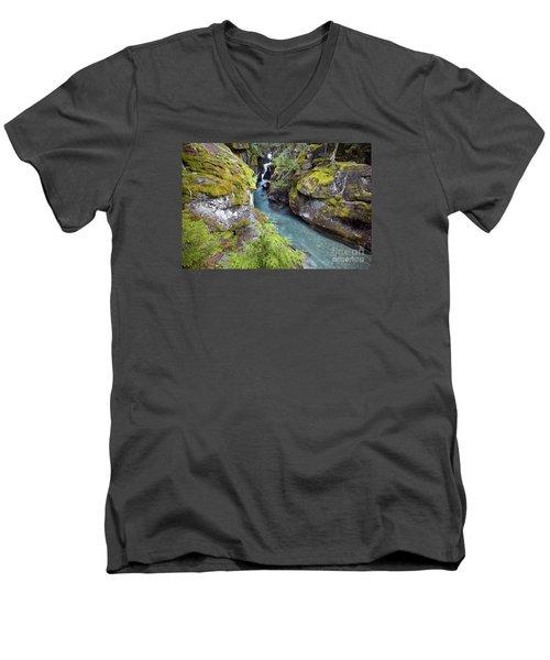 Avalanche Gorge In Glacier National Park Men's V-Neck T-Shirt