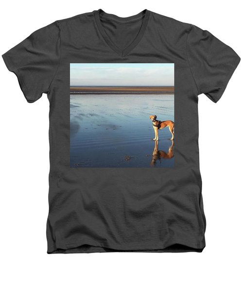 Ava's Last Walk On Brancaster Beach Men's V-Neck T-Shirt