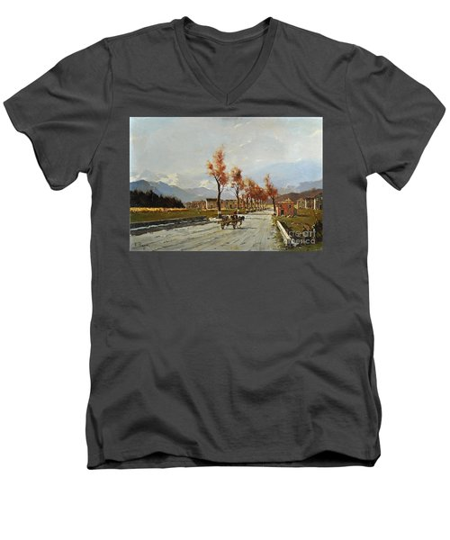 Men's V-Neck T-Shirt featuring the painting Avellino's Landscape  by Rosario Piazza