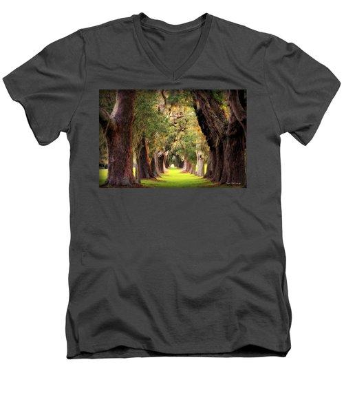 Avenue Of Oaks Sea Island Golf Club St Simons Island Georgia Art Men's V-Neck T-Shirt by Reid Callaway