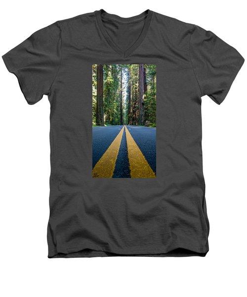Avenue Of The Giants Men's V-Neck T-Shirt by Alpha Wanderlust