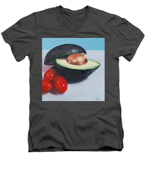 Avocado And Cherry Tomatoes Men's V-Neck T-Shirt
