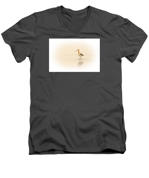 Men's V-Neck T-Shirt featuring the photograph Avocet Walk by Yeates Photography
