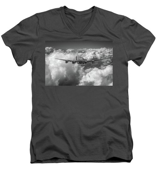 Men's V-Neck T-Shirt featuring the photograph Avro Lancaster Above Clouds Bw Version by Gary Eason