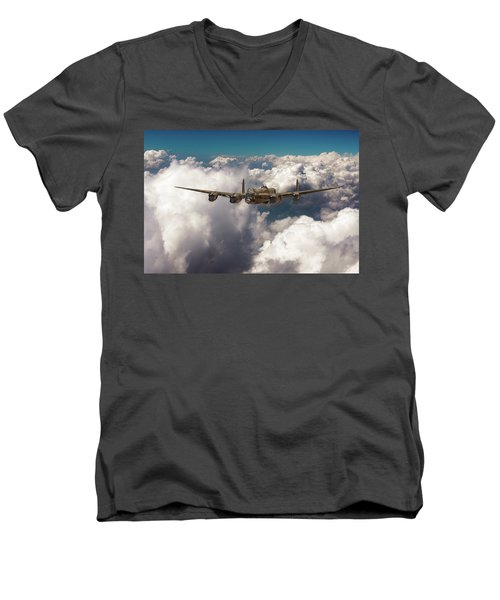 Men's V-Neck T-Shirt featuring the photograph Avro Lancaster Above Clouds by Gary Eason
