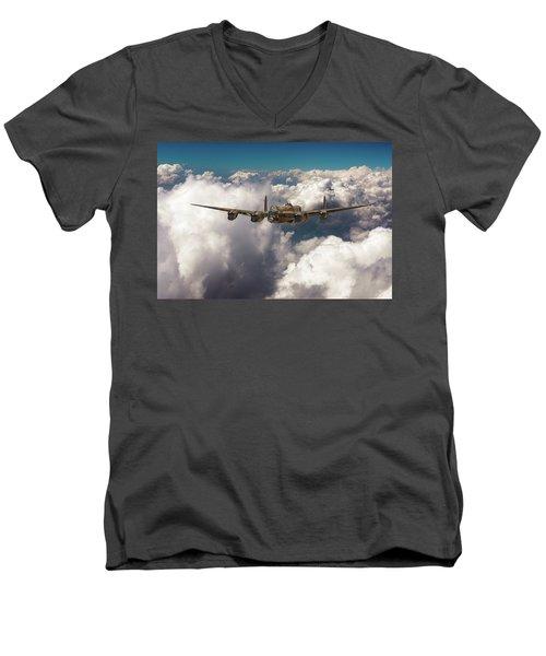 Avro Lancaster Above Clouds Men's V-Neck T-Shirt
