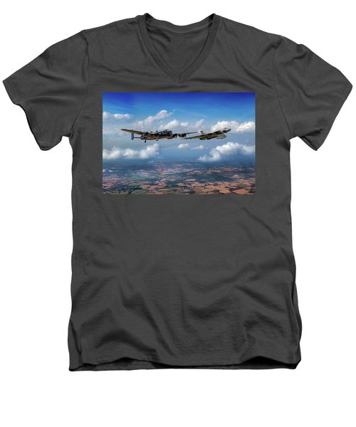 Men's V-Neck T-Shirt featuring the photograph Avro Sisters  by Gary Eason