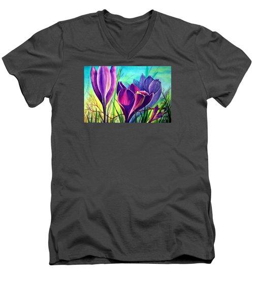 Awakening Men's V-Neck T-Shirt by Nancy Cupp